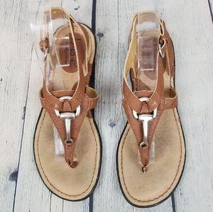 B.O.C.   thong ankle strap horse bit sandals